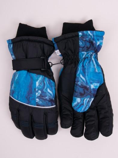 Rękawiczki narciarskie męskie czarne niebieski deseń