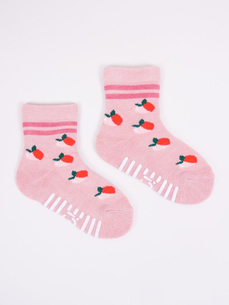 Skarpety bawełniane półfrotte dziewczęce różowe brzoskwinie