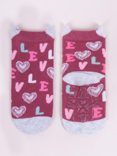 Skarpety bawełniane z silikonem antypoślizgowe dziewczęce love