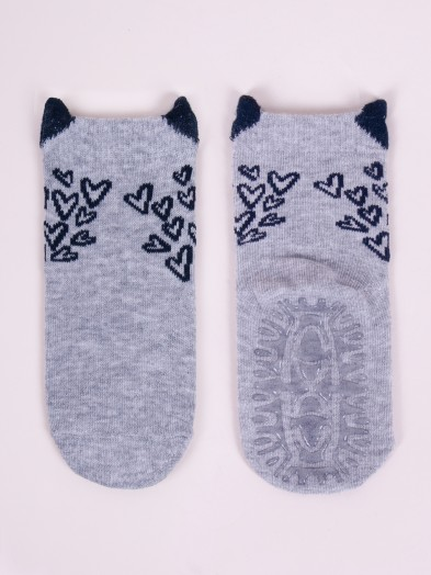 Skarpety bawełniane z silikonem antypoślizgowe dziewczęce serduszka