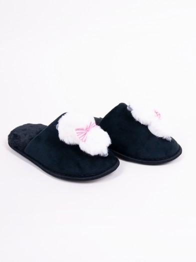 Klapki damskie z kotkiem czarne