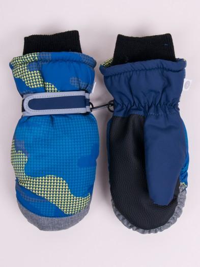Rękawiczki narciarskie chłopięce jednopalcowe szare niebieskie moro