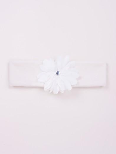 Opaska dziewczęca bawełniana szeroka ecru z kwiatkiem