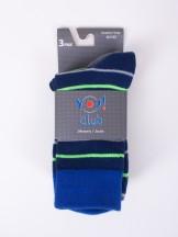 Skarpety męskie długie bawełna niebieskie w paski 3 PAK