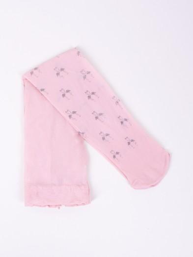 Rajstopy mikrofibra 20DEN pudrowy róż dziewczęce flamingi