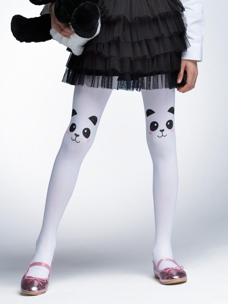 Rajstopy mikrofibra 40DEN białe dziewczęce wzór pandy