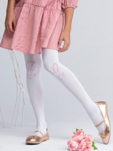 Rajstopy mikrofibra 40DEN białe dziewczęce królik na kolanie
