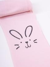 Rajstopy mikrofibra 40DEN pudrowy róż dziewczęce królik na kolanie