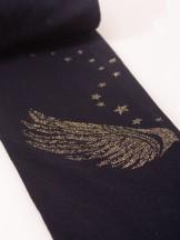 Rajstopy mikrofibra 40DEN czarne dziewczęce złote skrzydła na łydce