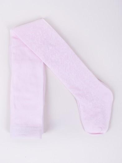 Rajstopy dziecięce bawełniane żakardowe różowe wzór