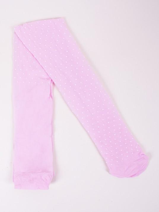 Rajstopy mikrofibra 20 DEN różowe w kropki