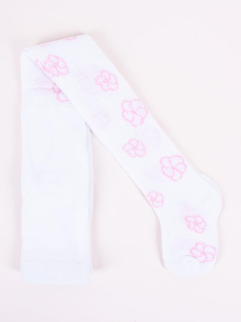 Rajstopy ażurowe białe w kwiatki