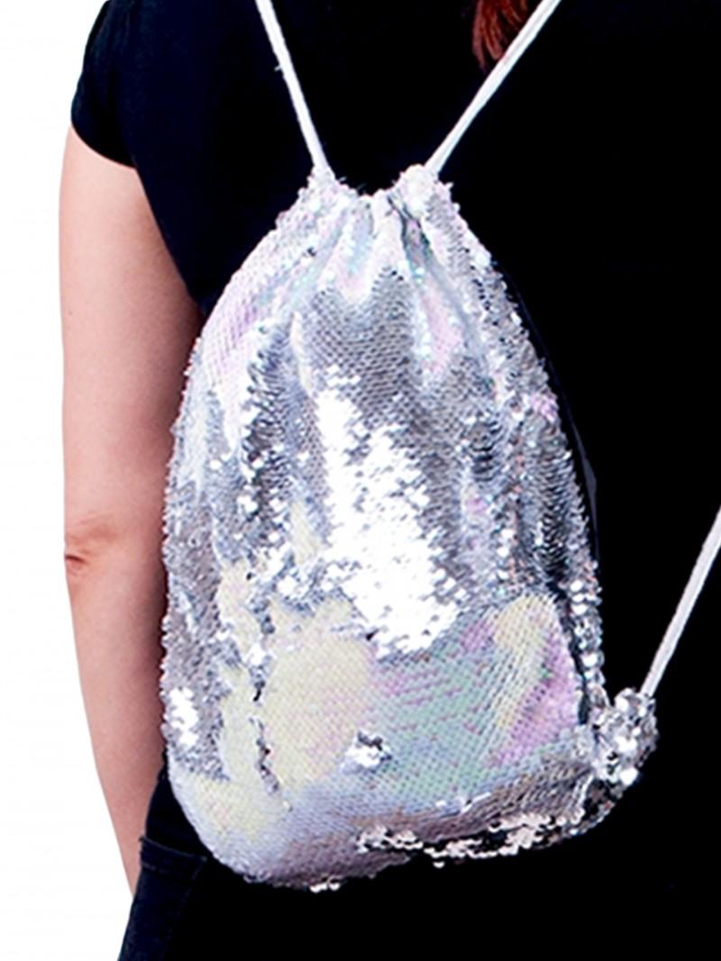 Plecak worek z cekinami odwracalnymi jasnoróżowo-srebrny