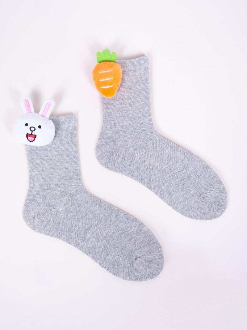 Skarpety dziewczęce szare z aplikacją 3D króliczek marchewka