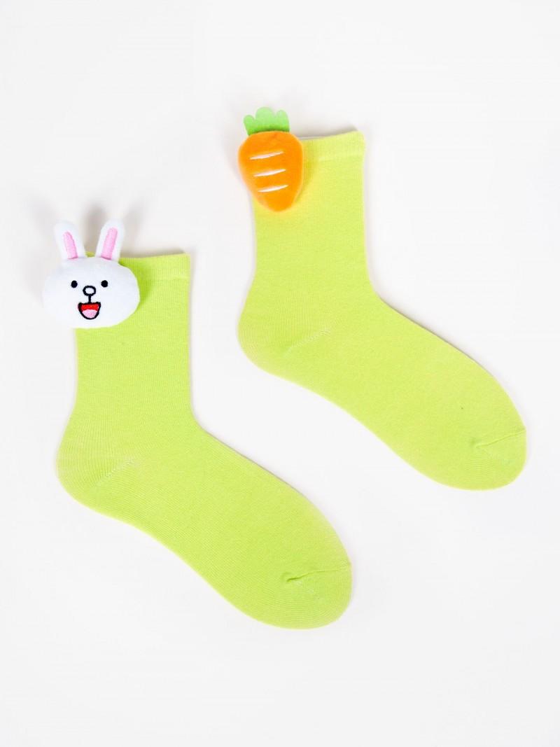 Skarpety dziewczęce zielone z aplikacją 3D króliczek marchewka