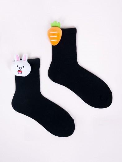 Skarpety dziewczęce czarne z aplikacją 3D króliczek marchewka