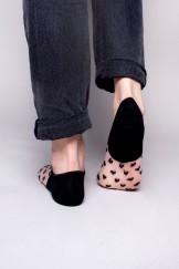 Skarpety stopki damskie transparentne siateczka w serduszka czarne