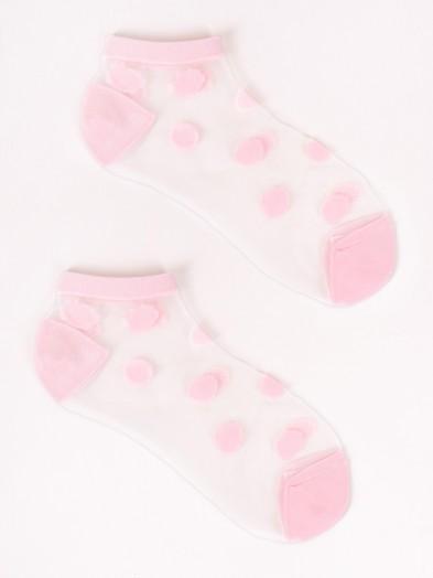 Skarpety stopki damskie transparentne różowe w kropki