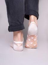 Skarpety stopki damskie transparentne białe w serca