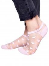 Skarpety stopki dziewczęce transparentne różowe w serca