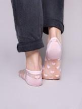 Skarpety stopki damskie transparentne różowe w serca