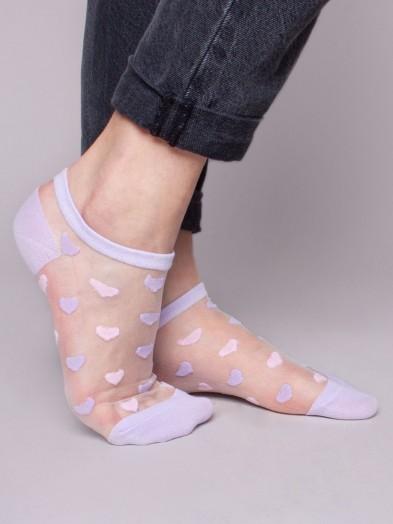 Skarpety stopki dziewczęce transparentne fioletowe w serca