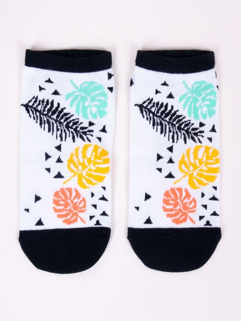 Skarpety Spoksy stopki bawełniane kolorowe liście palmowe