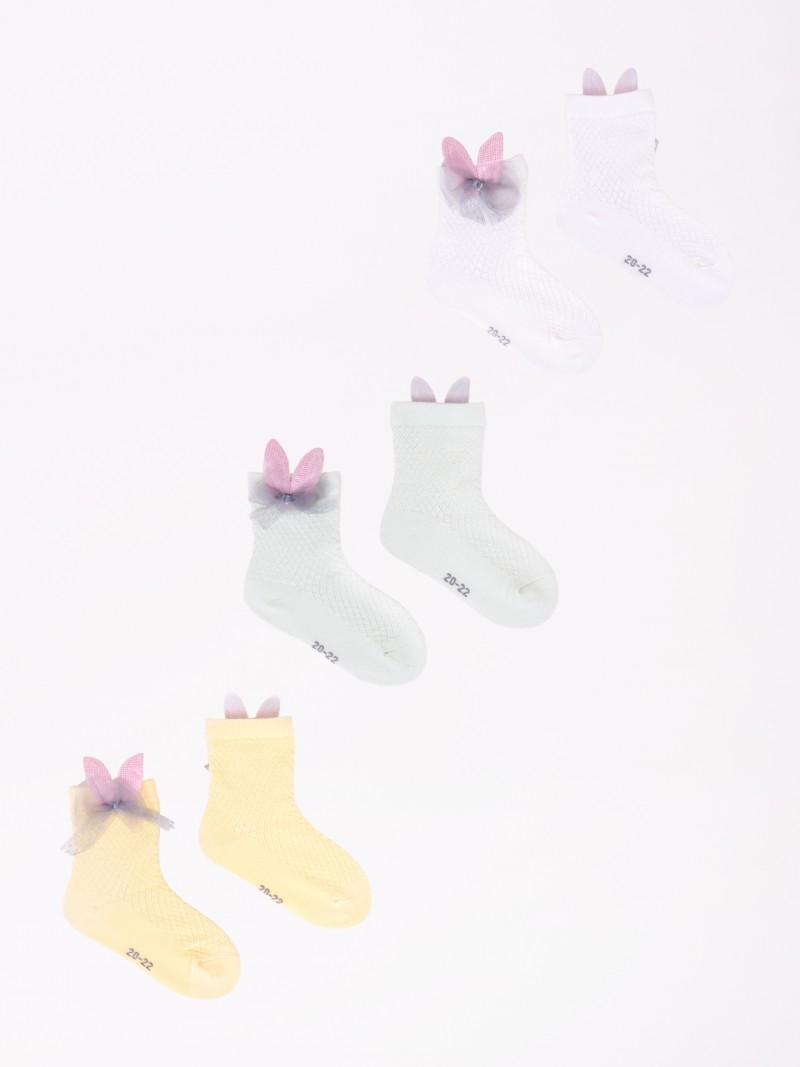 Skarpety dziewczęce 3PAK z aplikacją 3D z uszami królika i kokardką