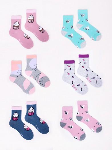Skarpety dziewczęce bawełniane 6PAK słodkie w pastelowe kolory