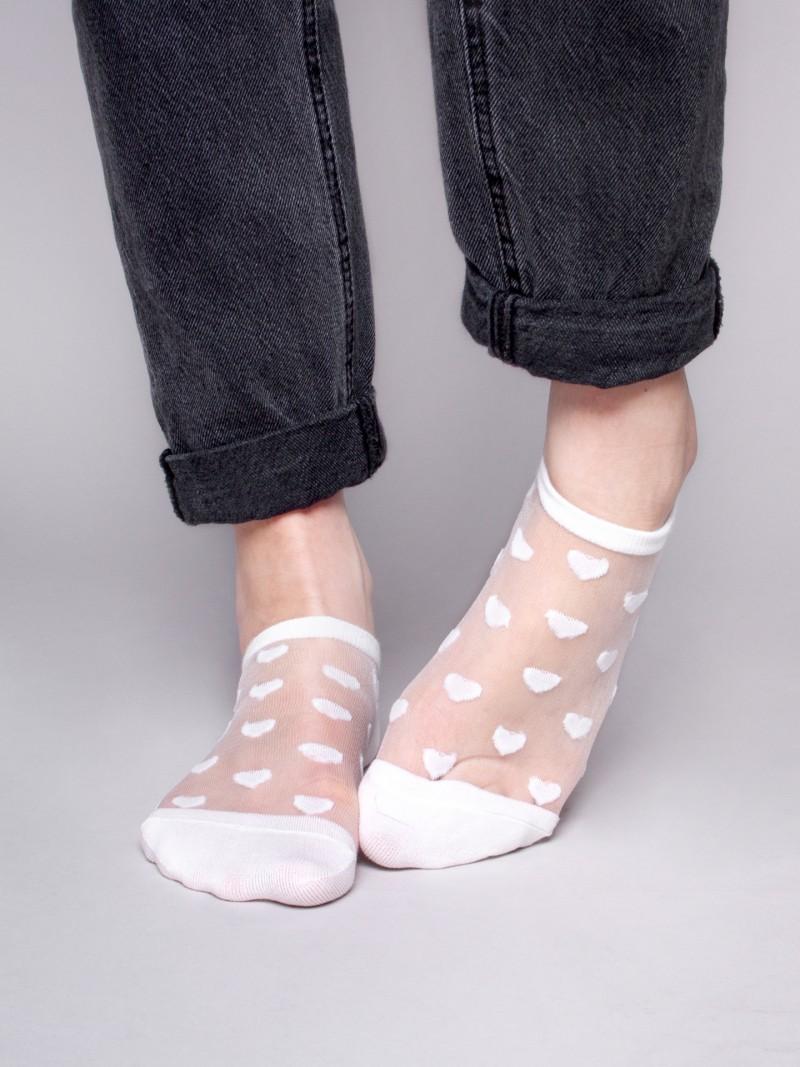 Skarpety stopki damskie transparentne siateczka w serduszka białe
