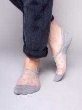 Skarpety stopki damskie transparentne siateczka w serduszka szare