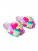 Klapki z kolorowym tęczowym futerkiem