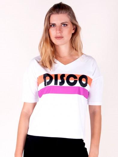 Podkoszulka t-shirt damski disco biały