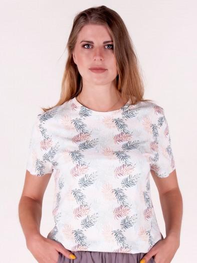 Podkoszulka t-shirt damski biały w kolorowe liście