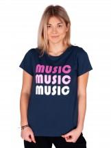 Podkoszulki t-shirt damski granatowy Music