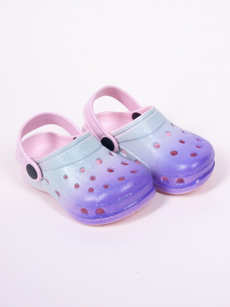 Klapki piankowe kroksy ogrodowe dziewczęce tęczowe niebiesko-fioletowe