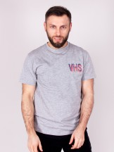 Podkoszulka t-shirt męski szara z nadrukiem VHS