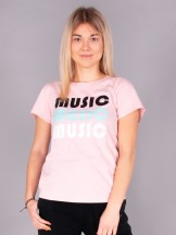 Podkoszulki t-shirt damski różowy Music