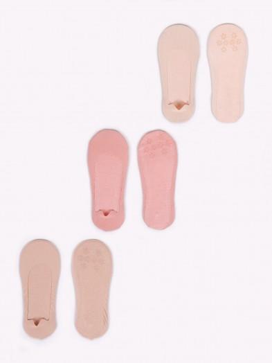 Skarpety stopki 3PAK dziewczęce basic jasny beż, ciemny beż, ceglasty
