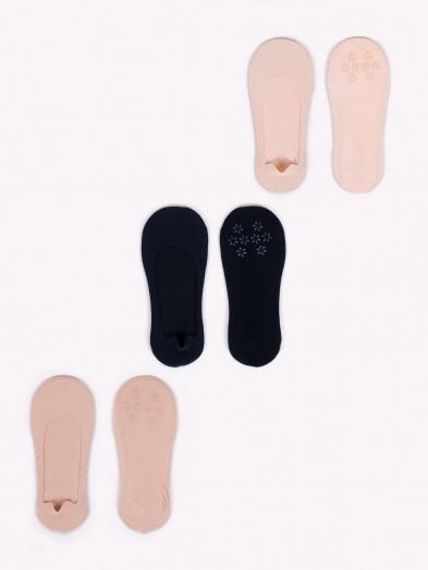 Skarpety stopki 3PAK dziewczęce basic jasny beż, ciemny beż, czarny