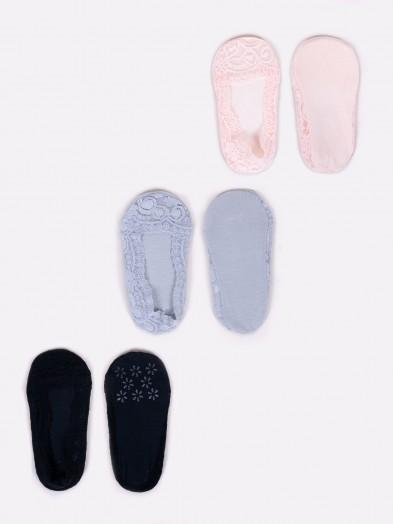 Skarpety stopki niskie dziewczęce jasny beż, czarne, szare 3PAK
