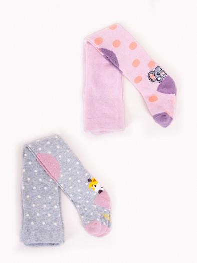 Rajstopy dziewczęce do raczkowania ABS różowa myszka szara żyrafka 2PAK