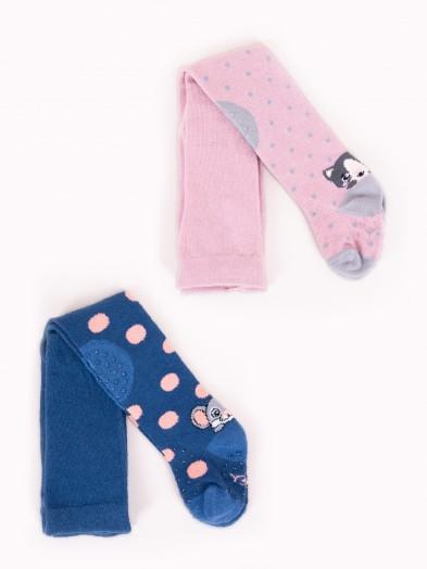 Rajstopy dziewczęce do raczkowania ABS różowy kotek granatowa myszka 2PAK