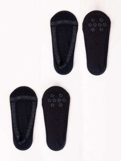Skarpety niskie damskie koronkowe czarne 2PAK