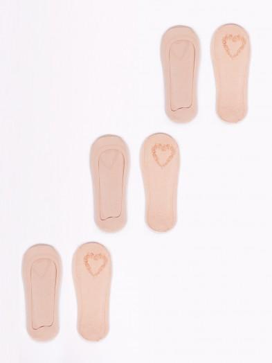 Skarpetki stopki damskie laserowe niskie z ABS 3PAK beżowe ciemne