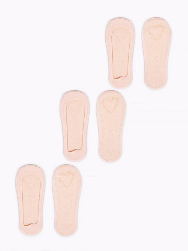Skarpetki stopki damskie laserowe niskie z ABS 3PAK beżowe jasne