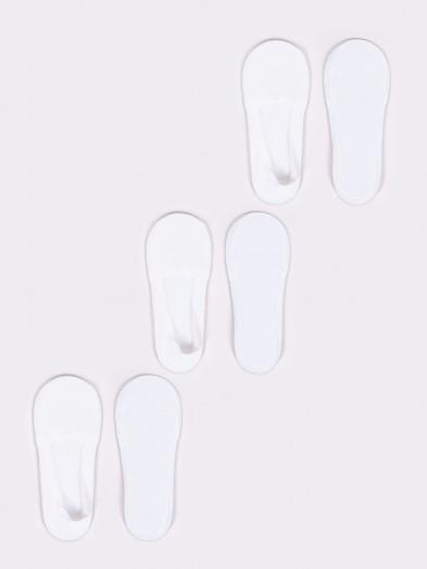 Skarpety stopki niskie damskie laserowe z silikonem białe 3PAK