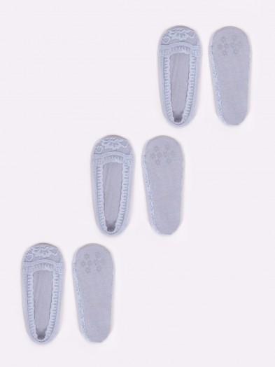 Skapety stopki 3PAK damskie koronkowe z antypoślizgowym ABS szare
