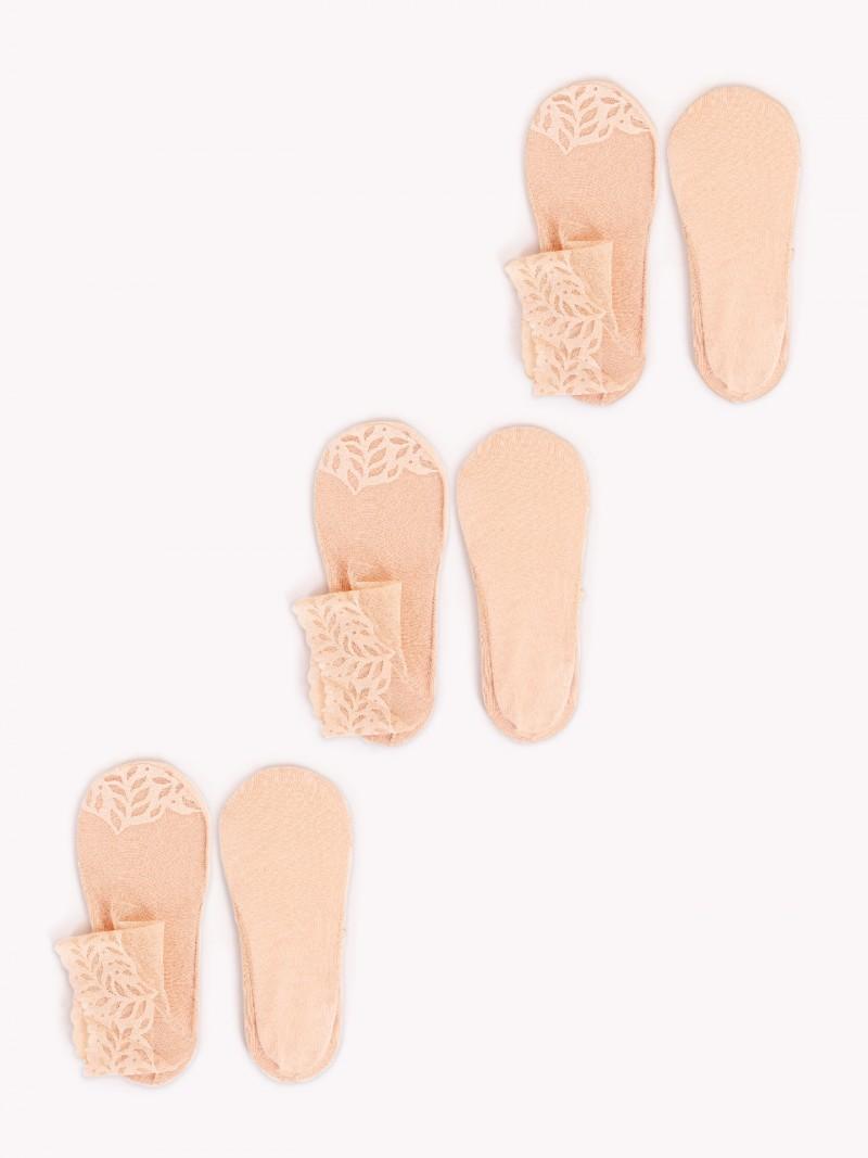 Skarpety stopki koronokwe za kostkę damskie beżowe 3PAK