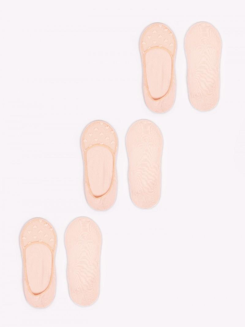 Skarpety damskie stopki z siateczką 3PAK beżowe